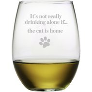 "Susquehanna Glass ""It's Not Really Drinking Alone If… The Cat is Home"" Stemless Wine Glass, Set of 4"