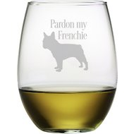 "Susquehanna Glass ""Pardon My Frenchie"" Stemless Wine Glass, Set of 4"