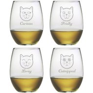 Susquehanna Glass Feline Faces Stemless Wine Glass, Set of 4