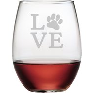 Susquehanna Glass Love Paw Stemless Wine Glass, Set of 4