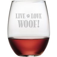 "Susquehanna Glass ""Live Love Woof"" Stemless Wine Glass, Set of 4"