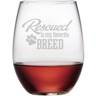 "Susquehanna Glass ""Rescued is My Favorite Breed"" Stemless Wine Glass, Set of 4"