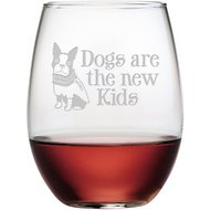 "Susquehanna Glass ""Dogs Are the New Kids"" Stemless Wine Glass, Set of 4"