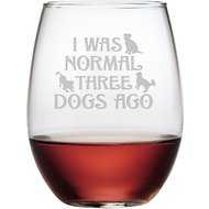 "Susquehanna Glass ""I Was Normal Three Dogs Ago"" Stemless Wine Glass, Set of 4"