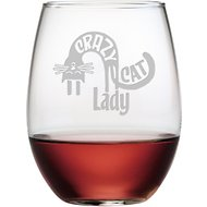 "Susquehanna Glass ""Crazy Cat Lady"" Stemless Wine Glass, Set of 4"