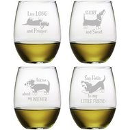 Susquehanna Glass Dachshund Assortment Stemless Wine Glass, Set of 4
