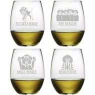 Susquehanna Glass Beagle Assortment Stemless Wine Glass, Set of 4