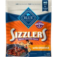Blue Buffalo Sizzlers with Cheddar Bacon-Style Dog Treats, 15-oz bag