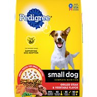 Pedigree Small Dog Complete Nutrition Grilled Steak & Vegetable Flavor Small Breed Dry Dog Food, 15.9-lb bag