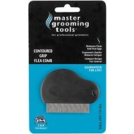 Master Grooming Tools Contoured Grip Dog & Cat Flea Comb, Black