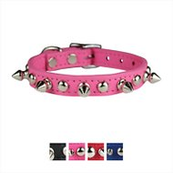 OmniPet Signature Leather Studs & Spikes Dog Collar, Pink, 12-in