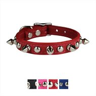 OmniPet Signature Leather Studs & Spikes Dog Collar, Red, 12-in