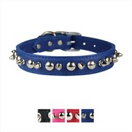 OmniPet Signature Leather Studs & Spikes Dog Collar, Blue, 24-in