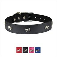 OmniPet Signature Leather Bone Dog Collar, Black, 24-in