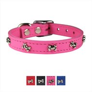 OmniPet Signature Leather Bone Dog Collar, Pink, 14-in