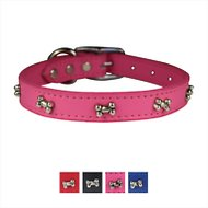 OmniPet Signature Leather Bone Dog Collar, Pink, 18-in