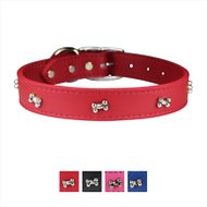 OmniPet Signature Leather Bone Dog Collar, Red, 24-in