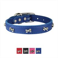 OmniPet Signature Leather Bone Dog Collar, Blue, 18-in