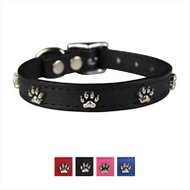 OmniPet Signature Leather Paw Dog Collar, Black, 12-in
