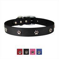 OmniPet Signature Leather Paw Dog Collar, Black, 22-in