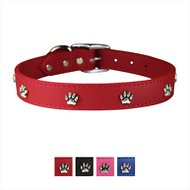 OmniPet Signature Leather Paw Dog Collar, Red, 24-in