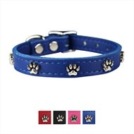 OmniPet Signature Leather Paw Dog Collar, Blue, 14-in