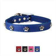 OmniPet Signature Leather Paw Dog Collar, Blue, 16-in