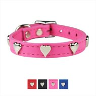 OmniPet Signature Leather Heart Dog Collar, Pink, 14-in