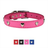 OmniPet Signature Leather Heart Dog Collar, Pink, 10 - 14 in