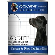Dave's Pet Food Restricted Bland Chicken & Rice Canned Dog Food, 13-oz, case of 12