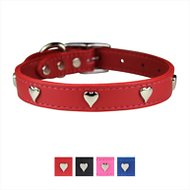 OmniPet Signature Leather Heart Dog Collar, Red, 20-in