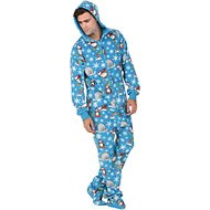 Footed Pajamas Winter Wonderland Unisex Adult Fleece Pajamas, Small