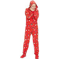 Footed Pajamas Holly Jolly Unisex Adult Fleece Pajamas, Medium