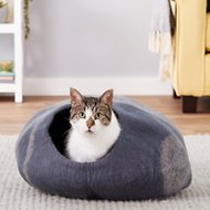 TwinCritters Handcrafted Wool Cat Cave, Slate Gray