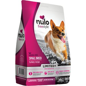 Nulo Freestyle Limited+ Small Breed Grain-Free Turkey Recipe Dry Dog Food, 4-lb bag; Give your petite pooch the limited ingredient nutrition he needs with the Nulo Freestyle Limited+ Turkey Recipe Small Breed Grain-Free Adult Dry Dog Food. It's a simple but powerful concept—a single animal meat source for 30% crude protein in every bowl with all the vitamins, antioxidants and minerals your pal needs to look and feel his best. Plus, the formula is loaded with l-carnitine to support a healthy weight, probiotics to support digestive and immune health, as well as omegas from salmon and canola oils for a lustrous skin and coat. Your pup will love the lip-smacking turkey—the first ingredient actually—and you can feel good about the fact that it's got zero grains or anything artificial.