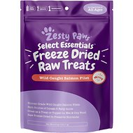 Zesty Paws Raw Freeze-Dried Salmon Skin & Coat Support Dog & Cat Treats, 4.5-oz jar