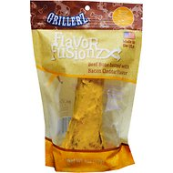Grillerz Flavor Fusionz Beef Bone with Bacon Cheddar Dog Treat, 4-oz bag