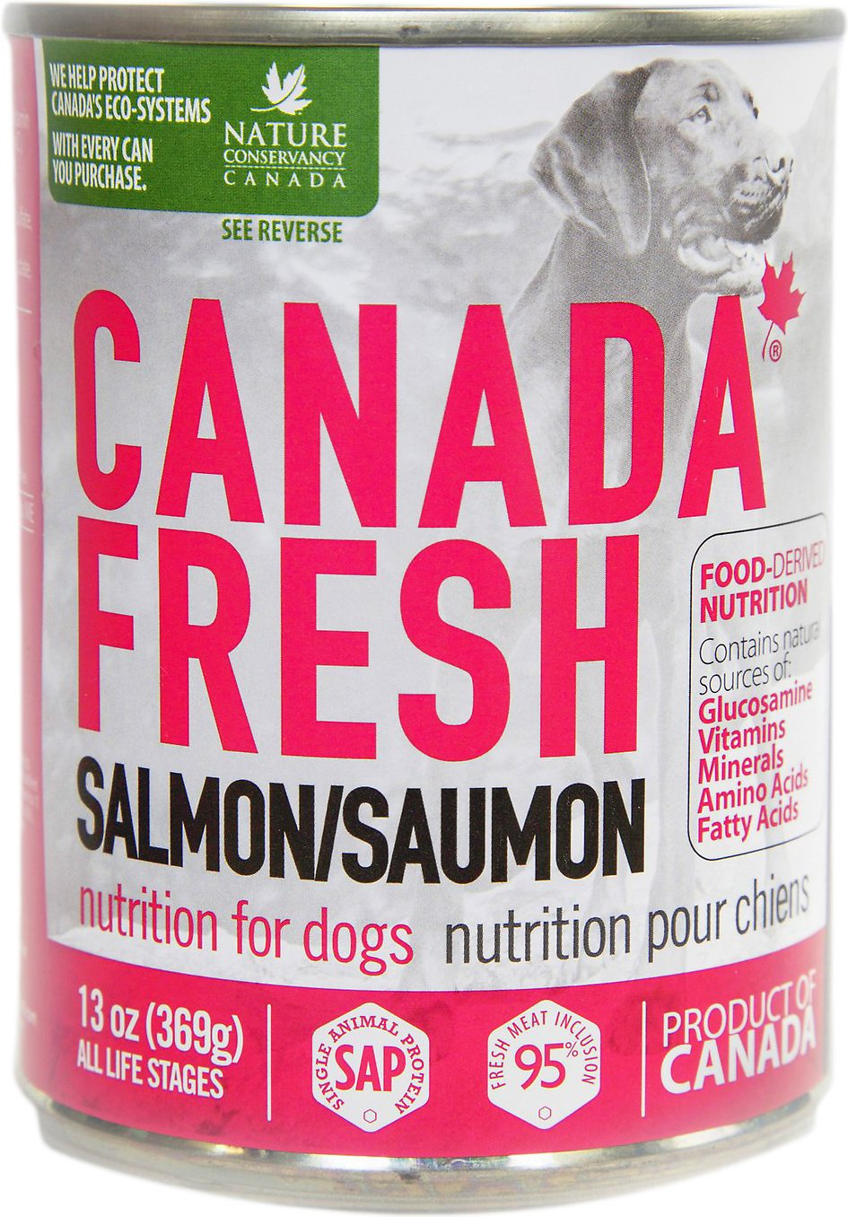 Canada fresh salmon canned dog food 13 oz case of 12 for Raw fish for dogs