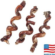 "USA Bones & Chews Smoked Curly Bully Stick 6-9"" Dog Chew Treat, 3 count"
