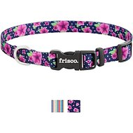 Frisco Patterned Polyester Dog Collar, Midnight Floral, X-Small: 8 to 12-in neck, 3/8-in wide