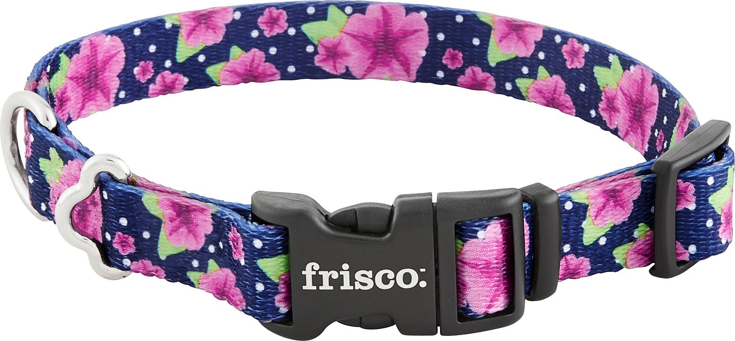 Frisco Patterned Dog Collar, Midnight Floral, Large