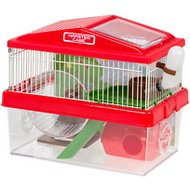 IRIS 2-Tier Hamster Cage with Wheel, Red