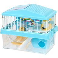 IRIS 2-Tier Hamster Cage with Wheel, Blue