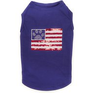 Zack & Zoey Sequin American Flag UPF 40 Dog & Cat T-Shirt, Small/Medium