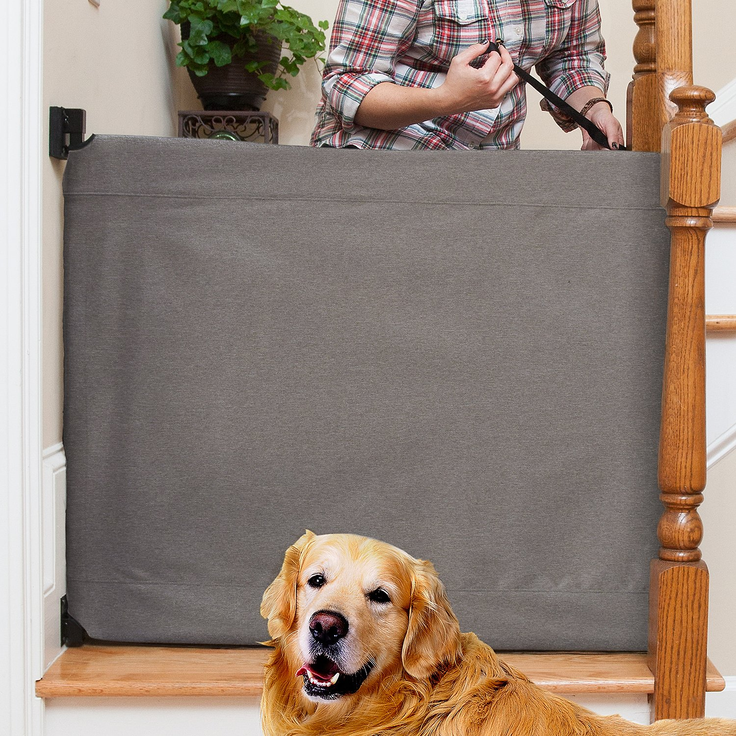 The Stair Barrier Wall To Banister Indoor Fabric Pet Gate