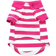 Doggie Design Striped Dog & Cat Polo Shirt, Pink, X-Small
