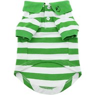 Doggie Design Striped Dog & Cat Polo Shirt, Green, Small