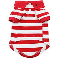Doggie Design Striped Dog & Cat Polo Shirt, Red, Medium