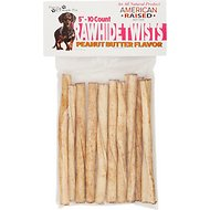 Pure & Simple Pet Peanut Butter Flavored Rawhide Twist Dog Treat, 5-in, 10 count