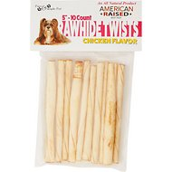 Pure & Simple Pet Chicken Flavored Rawhide Twist Dog Treat, 5-in, 10 count